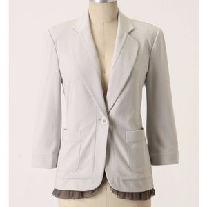 Anthropologie Cartonnier Grey Ruffled Blazer